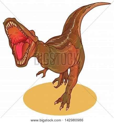 Illustration of Tyrannosaurus Rex or T-Rex dinasour from Jurassic era