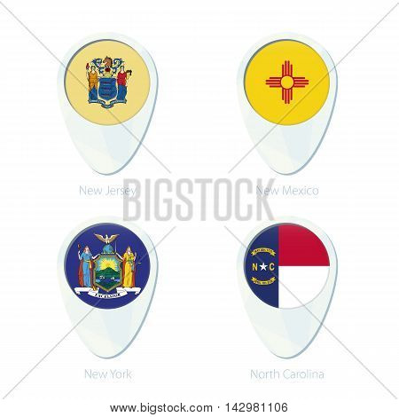 New Jersey, New Mexico, New York, North Carolina Flag Location Map Pin Icon.