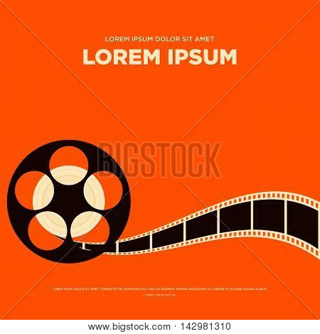 Movie film reel and strip vintage poster isolated vector illustration