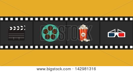 Cinema and movie element isolated with film reel clapper popcorn 3d glasses vector illustration