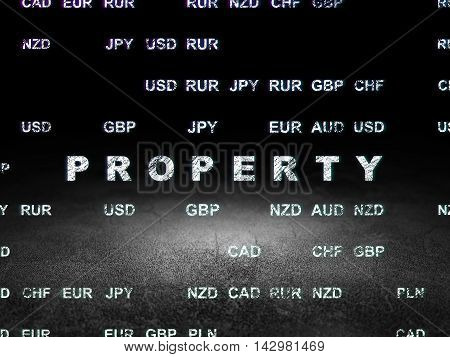 Business concept: Glowing text Property in grunge dark room with Dirty Floor, black background with Currency
