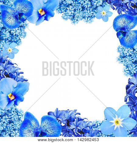 Frame of different flowers with space for text on white background.