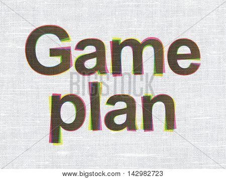 Finance concept: CMYK Game Plan on linen fabric texture background