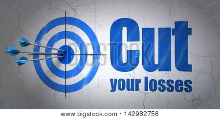 Success business concept: arrows hitting the center of target, Blue Cut Your losses on wall background, 3D rendering