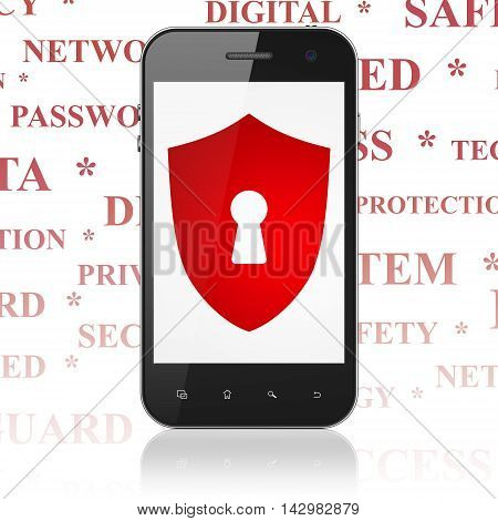 Privacy concept: Smartphone with  red Shield With Keyhole icon on display,  Tag Cloud background, 3D rendering