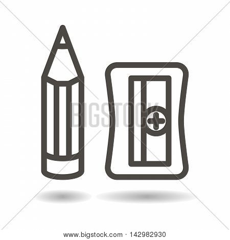 Pencil and sharpener icon on a white background