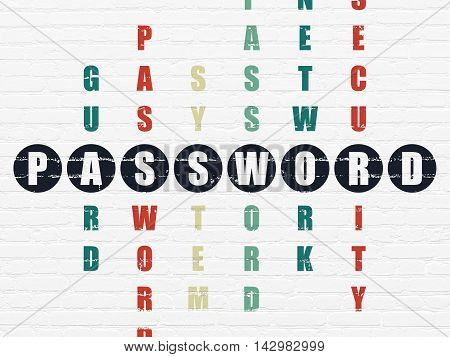 Security concept: Painted black word Password in solving Crossword Puzzle