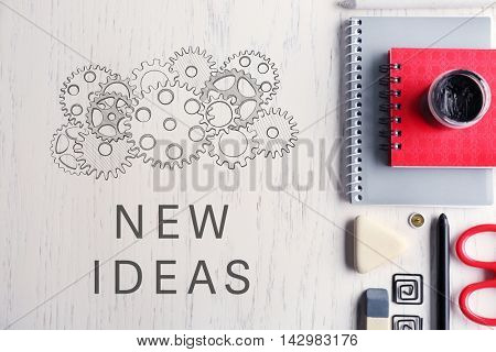 Business training concept. Office supplies on light wooden background