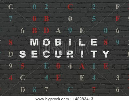 Safety concept: Painted white text Mobile Security on Black Brick wall background with Hexadecimal Code