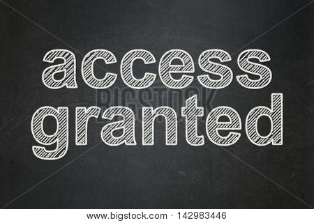 Protection concept: text Access Granted on Black chalkboard background