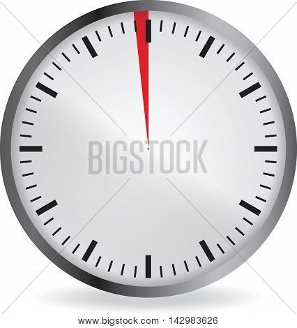 Clock with red 1 minute deadline. Isolated on white background. Vector illustration