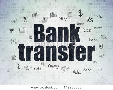 Money concept: Painted black text Bank Transfer on Digital Data Paper background with  Hand Drawn Finance Icons