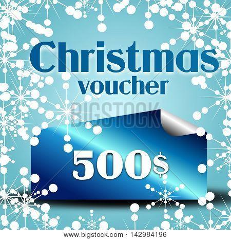 Illustration of blue christmas gift voucher on 500$