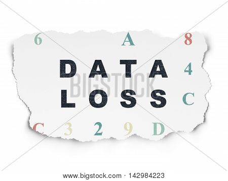 Information concept: Painted black text Data Loss on Torn Paper background with  Hexadecimal Code