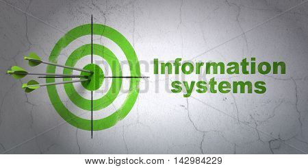 Success Data concept: arrows hitting the center of target, Green Information Systems on wall background, 3D rendering