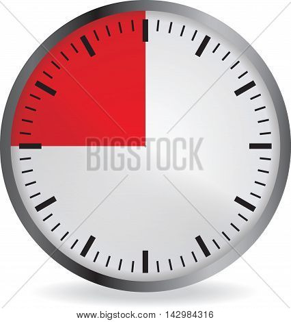 Clock with red 15 minute deadline. Isolated on white background. Vector illustration