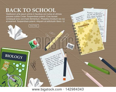 Composition Back To School With Schoolbook, Exercise Books And Stationery. Vector