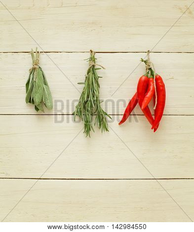 Herbs and spices - rosemary sago chili pepper