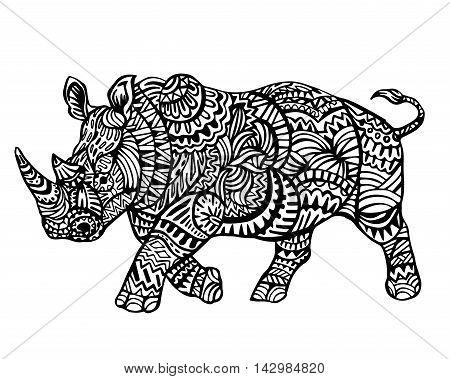 Ethnic Animal Doodle Detail Pattern - Rhinoceros Zentangle  Illustration