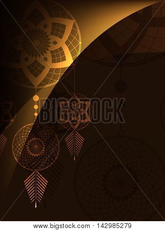 amulet of the Dreamcatcher on a brown background with light lines
