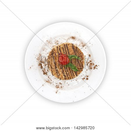 Layered Cake With Nut On Plate, On White Background. Top View