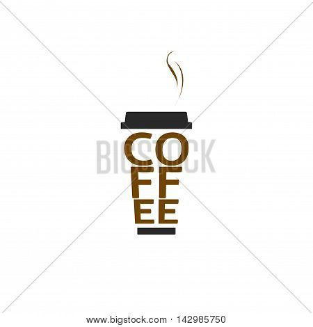 Coffee cup vector logo isolated on white background, flat paper coffee mug shape with letters and steam creative logotype, trendy brand