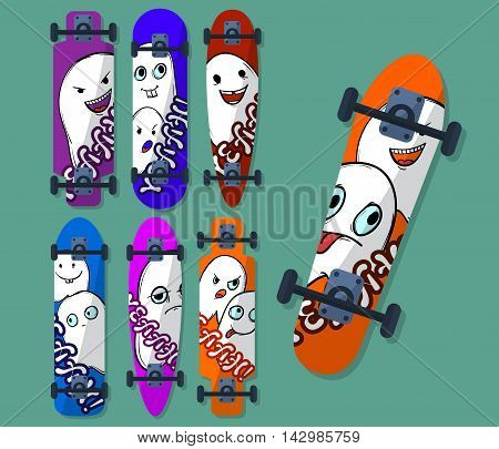 Collection Of Variegated Skateboard With Monsters On A Light Background. Vector