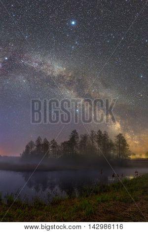 River Biarezina (Belarus) under stars