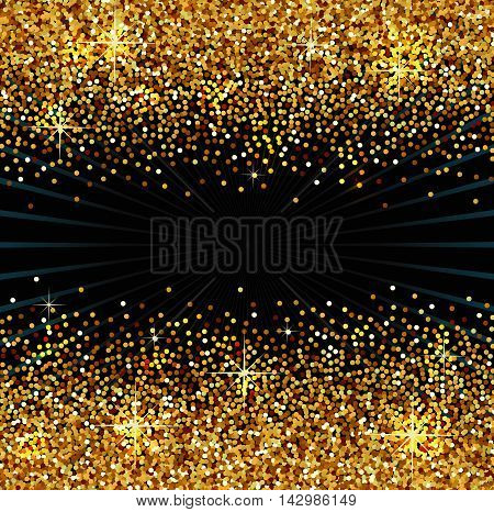 Background with golden sparkles, vector illustration, luxury backdrop for your designs