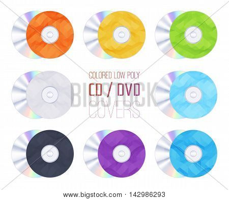 Set of the colored geometric rumpled triangular low poly CD-DVD covers