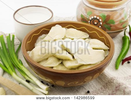 Dumplings With Sour Cream In Ceramic Bowl. National Ukrainian And Russian Food. Selective Focus