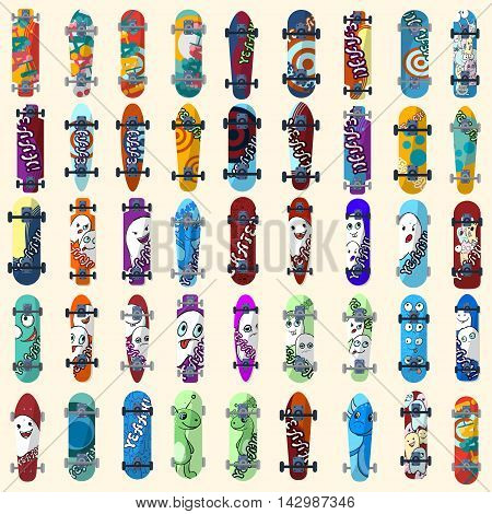 Big Set Of Skateboards And Skateboarding Elements Street Style. Painted In Bright Figures In A Carto