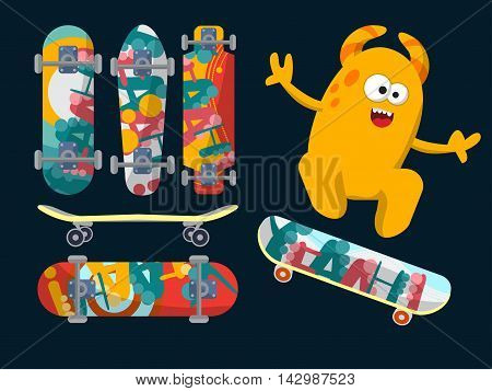 Bright Skateboard On A Dark Background With A Yellow Monster. Vector