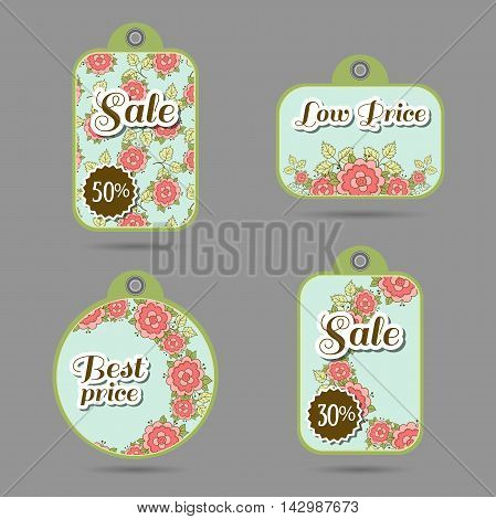 Set of price tags with hand drawn roses on blue. Vector illustration.