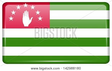 Flags Abkhazia In The Form Of A Magnet On Refrigerator With Reflections Light. Vector