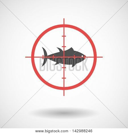 Isolated Line Art Crosshair Icon With  A Tuna Fish