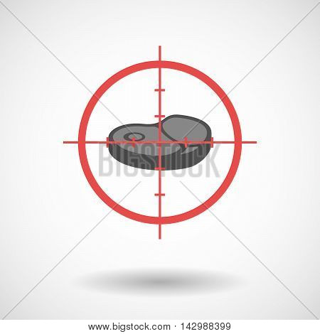 Isolated Line Art Crosshair Icon With  A Steak Icon
