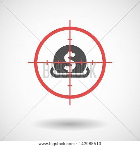 Isolated Line Art Crosshair Icon With  A Dollar Coin Entering In A Moneybox