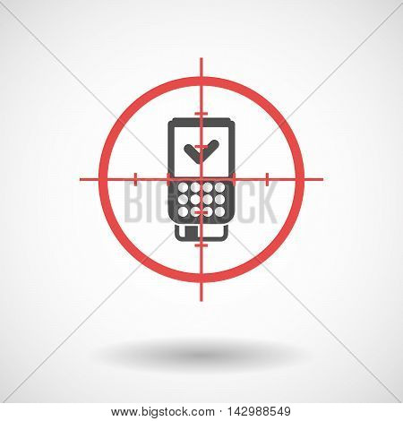 Isolated Line Art Crosshair Icon With  A Dataphone Icon