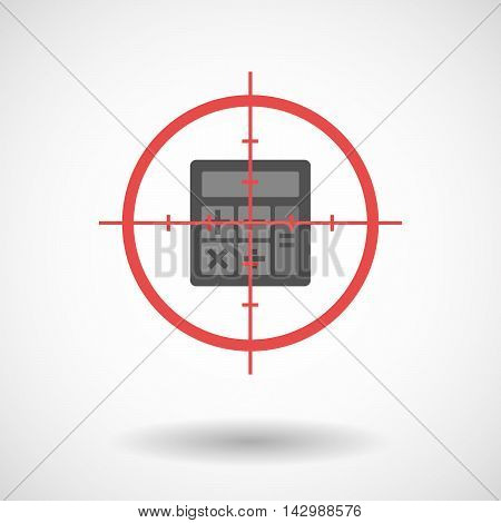Isolated Line Art Crosshair Icon With  A Calculator