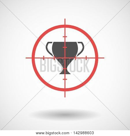 Isolated Line Art Crosshair Icon With  An Award Cup