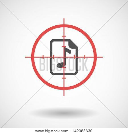 Isolated Line Art Crosshair Icon With  A Music Score Icon