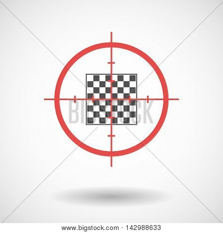 Isolated Line Art Crosshair Icon With  A Chess Board