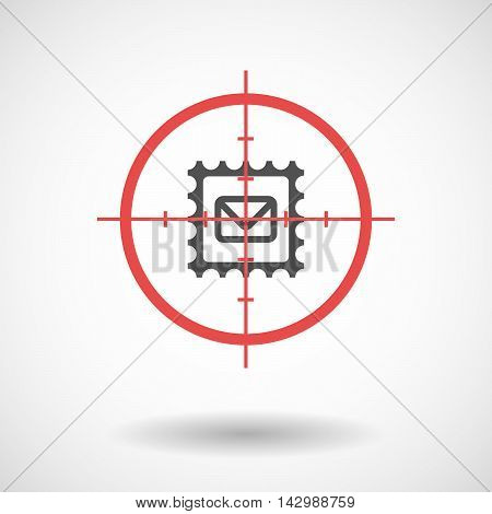 Isolated Line Art Crosshair Icon With  A Mail Stamp Sign