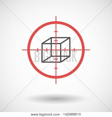 Isolated Line Art Crosshair Icon With  A Cube Sign
