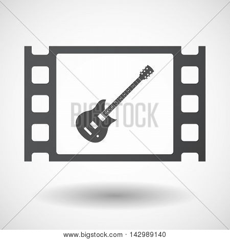 Isolated Celluloid Film Frame Icon With  An Electric Guitar