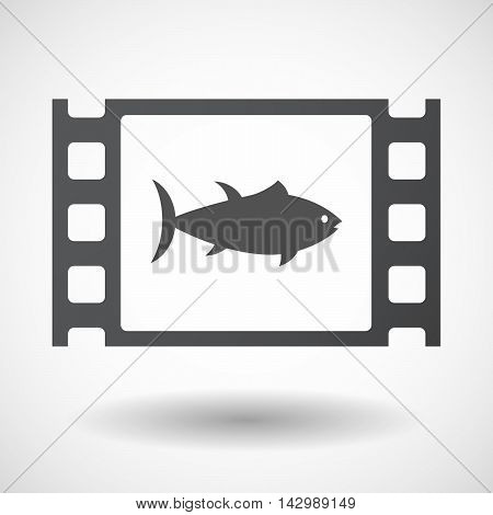 Isolated Celluloid Film Frame Icon With  A Tuna Fish