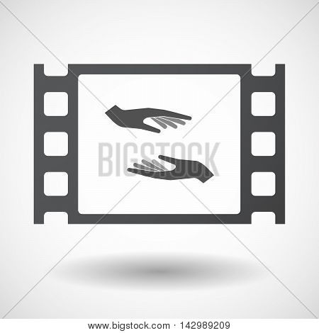 Isolated Celluloid Film Frame Icon With  Two Hands Giving And Receiving  Or Protecting