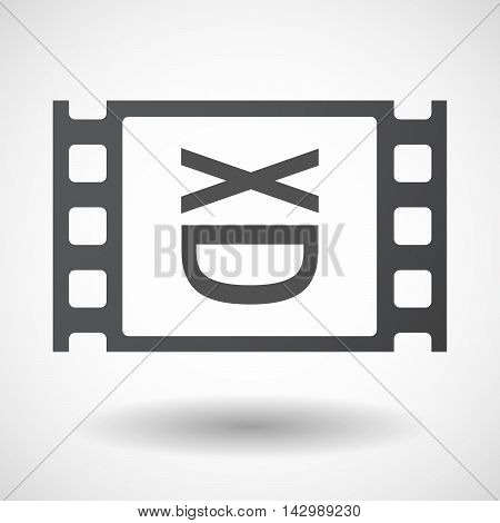 Isolated Celluloid Film Frame Icon With   A Laughing Text Face