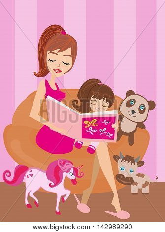 A mother reading a book with her daughter , vector illustration
